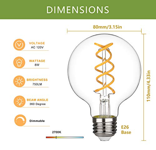G25(G80) 8W Vintage Globe Edison LED Bulb, Warm White 2700K,8W Equivalent to 60W 750Lm Dimmable with 80+ CRI,Antique Flexible Spiral LED Filament Light Bulb,E26 Base,Clear Glass(4 Pack)