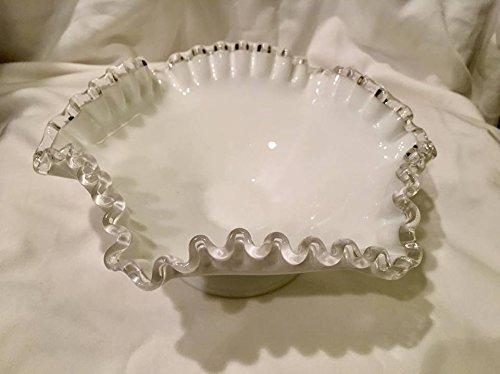 Vintage Fenton Milk Glass Ruffled Pedestal Vase with Silver Crest (8.5