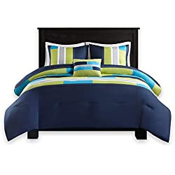 Comfort Spaces - Pierre Comforter Set - 3 Piece - Dark Blue/Navy - Multi-Color Pipeline Panels - Perfect for Dormitory - Boys - Twin/Twin XL Size, Includes 1 Comforter, 1 Sham, 1 Decorative Pillow