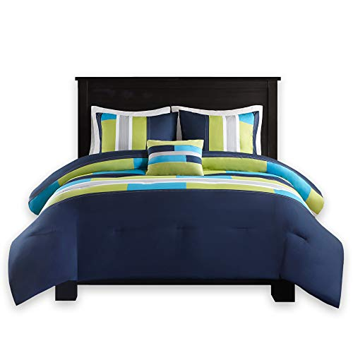Comfort Spaces - Pierre Comforter Set - 4 Piece - Dark Blue/Navy - Multi-Color Pipeline Panels - fantastic for Dormitory - Boys - Full/Queen Size, contains 1 Comforter, 2 Shams, 1 Decorative Pillow