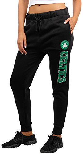 fan products of NBA Women's Boston Celtics Jogger Pants Active Basic Fleece Sweatpants, Large, Black