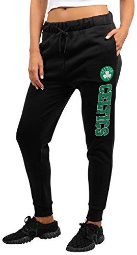 Ultra Game NBA Boston Celtics Women's Jogger Pants Active Basic Fleece Sweatpants, X-Large, Black -
