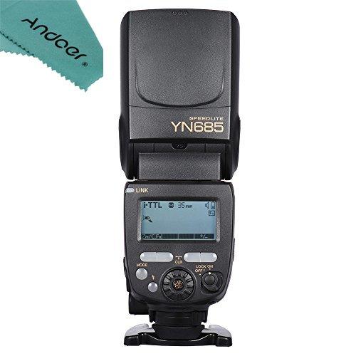 YONGNUO YN685 i-TTL HSS 1/8000s GN60 2.4G Wireless Flash Speedlite Speedlight with Andoer Cleaning Cloth for Nikon D750 D810 D7200 D610 D7000 D5500 D5200 D5300 D3300 D3200 DSLR Camera