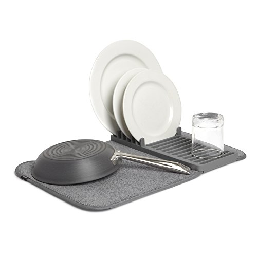 Umbra UDRY Rack and Microfiber Dish Drying Mat, Mini, Charcoal