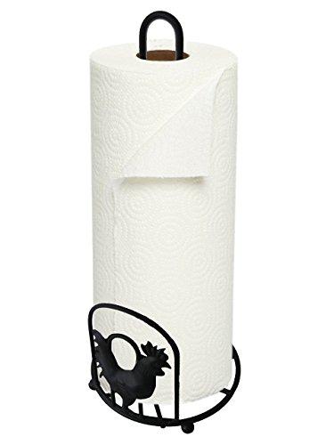 Home Basics RP01614 Rooster Paper Towel Holder, Black
