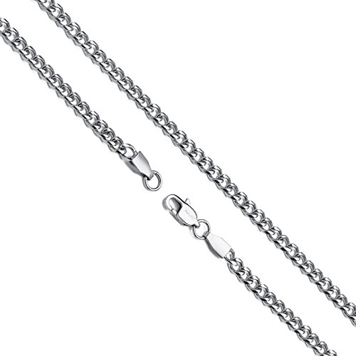 AmyRT Jewelry 4mm Silver Titanium Steel Link Curb Chain Necklace for Men Women 22 Inch