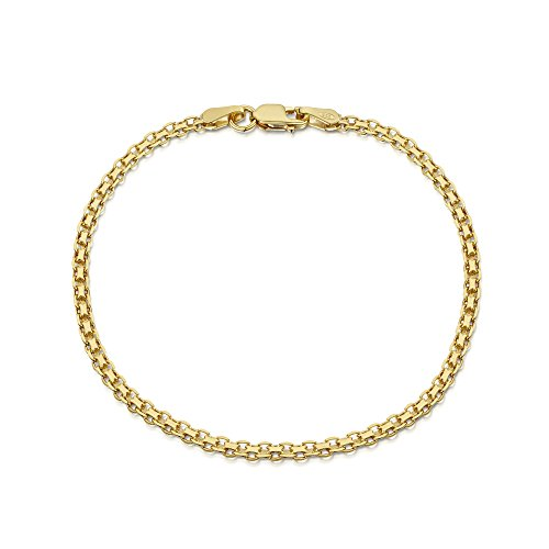 Amberta 18K Gold Plated on 925 Sterling Silver 2.2 mm Bismark Chain Bracelet Length 8