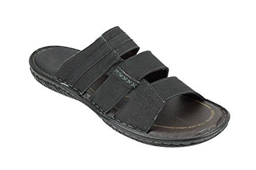 Mens Leather Slip On Sandals Black Brown Summer Walking Sliders Open Toe Sleepers Black 39MhL
