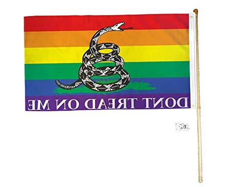 Kaputar 5 Wood Flag Pole Kit Wall Mount Bracket 3x5 Rainbow Gadsden Polyester Flag | Model FLG - ()