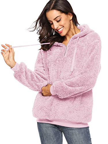 (Famulily Women's Long Sleeve Zip Hoodie Sweatshirt Warm Fuzzy Fleece Pullover Sherpa Pink XL)
