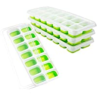 Ice Cube Trays 4 Pack, Easy-Release Silicone and Flexible 14-Ice Trays with Spill-Resistant Removable Lid, LFGB Certified and BPA Free, Stackable Durable and Dishwasher Safe
