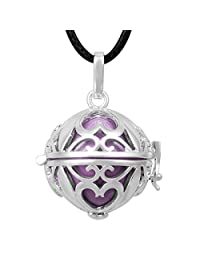 "Eudora Harmony Bola Pregnancy Musical Angel Caller Silver Locket Pendant with 45"" Chain 20mm Bell"