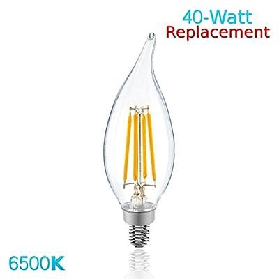 Luxrite LR21242 (100-Pack) 4W LED Filament Candelabra Bulb, 40W Equivalent LED Candle Bulb, Daylight White 6500K, 350 Lumens, 270° Beam Spread, E12 Base
