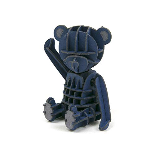 JIGZLE Teddy Bear Blue 3D Paper Puzzle DIY Kit - Laser Cut 3D Miniature ()