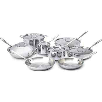 All-Clad 401716 Stainless Steel Tri-Ply Bonded Dishwasher Safe Cookware Set, 14-Piece, Silver