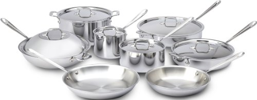 All-Clad 401716 Stainless Steel Tri-Ply Bonded Dishwasher Safe Cookware Set, 14-Piece, Silver (All Clad Cooking Set)