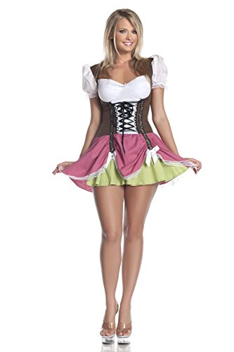 Plus Size French Maid Costume Uk (Shiybugou Plus Size Swiss Girl Costume Brown/fuschia3X)