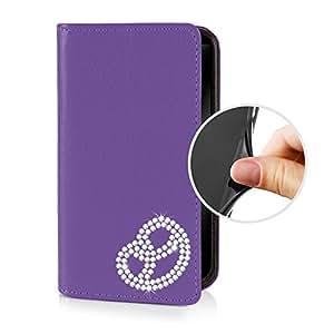 eSPee LG2mB055 - Funda de piel sinttica para LG G2 con pedrera, contorno de silicona integrado y cierre magntico, diseo mini, color violeta
