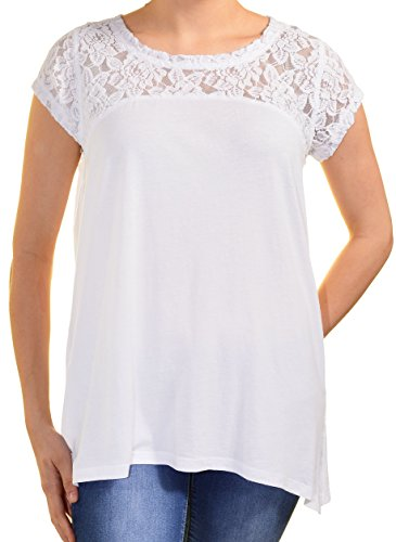 Dkny Jeans Womens Short Sleeve Lace Top (Medium, White) ()