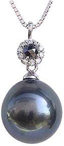タヒチ黒蝶真K18WGペンダントトップ グリーン系 ドロップ形 ダイヤモンド ブラックダイヤモンド