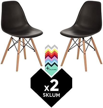 SKLUM Silla BRICH SCAND (Pack 2) - Negro Madera Natural- (Elige ...