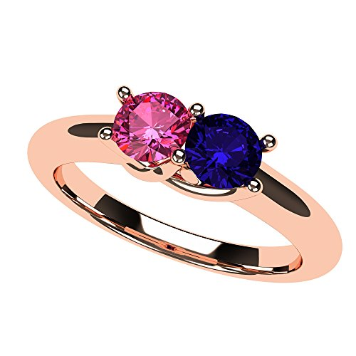 NANA Lucita Couples 2 Stones Ring with His & Hers Simulated Birthstone in 14k Rose Gold- Size 5 by NaNa