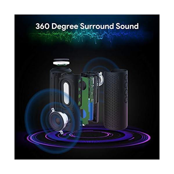 Zamkol Enceinte Bluetooth Portable, Waterproof Haut-Parleur Bluetooth Enceinte d'extérieur sans Fil 24W, 360° HD Bass Pilote Double, Bluetooth 4.2, étanche IPX6, Mains Libres et Technologie TWS 5