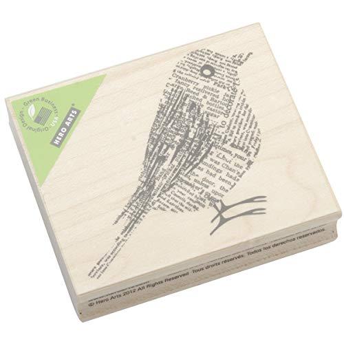 Hero Arts Woodblock Stamp, Newsprint Bird