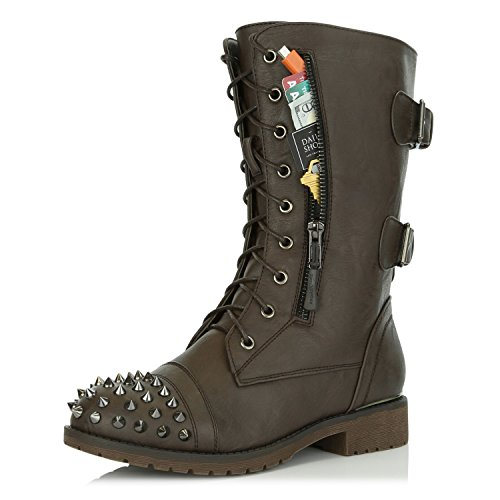 DailyShoes Women's Ankle Boots Combat Boot Low Heel Lace Up Zippered Pocket Stud Buckles Spike Punk Shoes Spring Fall Comfort Exclusive Credit Card Studded Bootie Timber-99 Brown Pu 9