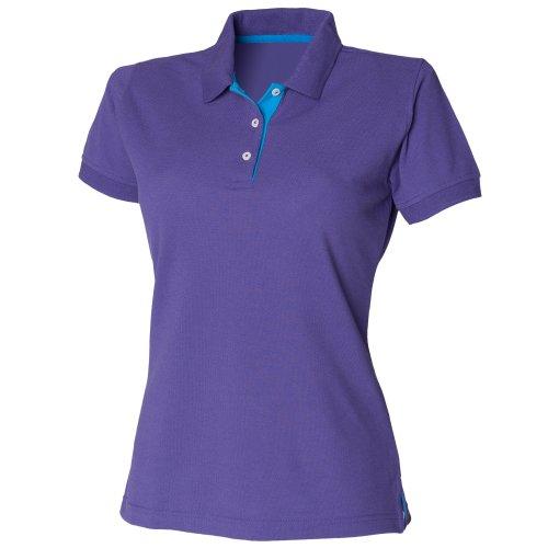 Henbury- Polo ajustado con detalles de diferente color 65/35 para mujer Negro/Fucsia