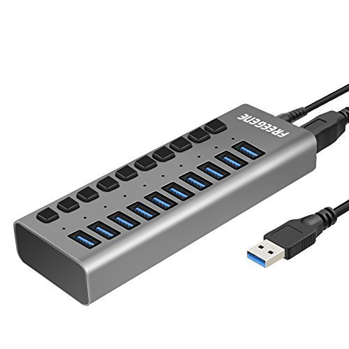 10-Port USB 3.0 Data Hub with 36W 12v 3a Power Adapter for Macbook, Mac Pro/mini, iMac, XPS, Surface Pro, Notebook PCs and More (36w Pc)