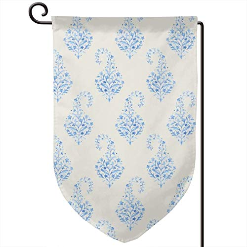 - familygam Garden Flag Summer,Painted Paisley Blue On Cream_1306,12.5 x 18 Inch