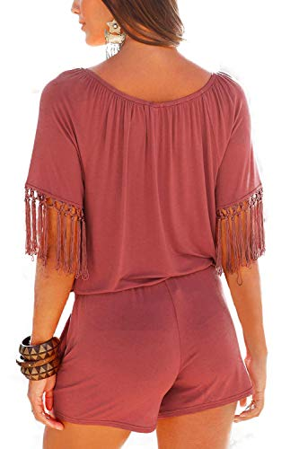 Romper Salopette Shoulder Off Womens Tassel corta Loose Rosso Shorts Tute dHaZnwq0