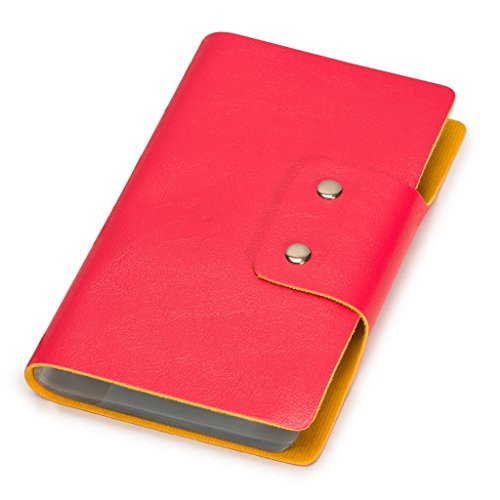 (Credit Card Holder - Nicely Neat Leatherette Business Card/Credit Card Organizer Book (Rose Red) - Holds Up to 188 Cards (96 Cells) - Top Grade Faux Leather - 32 Pages - Stylish)