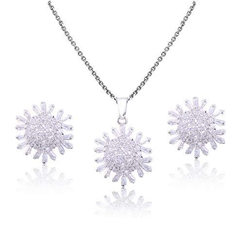 (Mycitta Women's Cubic Zirconia Elegant Sunflower Leaves Vine Teardrop Bridal Pendant Necklace Dangle Earrings Wedding Jewelry Set)