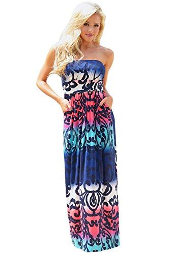 long strapless blue multi dress - 6