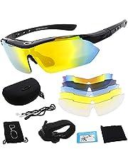 Miriqi Polarizzata Sport Occhiali da Sole con 5 Lenti Intercambiabili Uomo e Donna Antivento Anti-UV 400 Protezione per Guida/Trekking/Bicicletta/Pesca