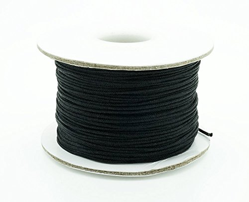 - BLACK 0.8mm Chinese Knot Nylon Braided Cord Shamballa Macrame Beading Kumihimo String (50yards Spool)
