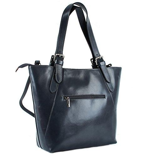 Leder Handtasche in Dunkelgrau - Lederhandtasche italienischer Stil Dunkelgrau Leder Damentasche Zwgb3