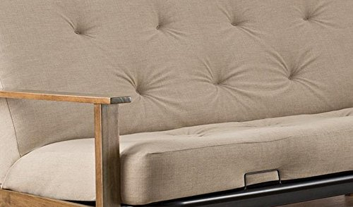DHP Bergen Wood Arm Futon with 6-inch Coil Mattress, Mid Century Design, Converts to Full Size Bed, Tan Linen