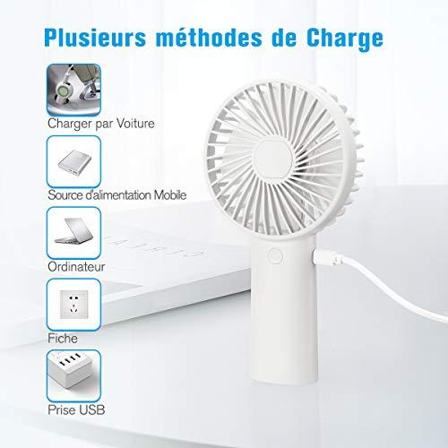 isYoung Mini Ventilateur Portable Personnel USB avec Piles Rechargeables 4000mAH Temps de Travail 8-20 heures - 3 Réglages de Vitesse - pour Voyages en Extérieur de Bureau à Domicile (Blanc)