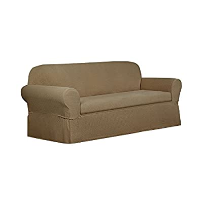 Maytex 4100131 2 Piece Torie Stretch Fabric Sofa Slipcover, Tan
