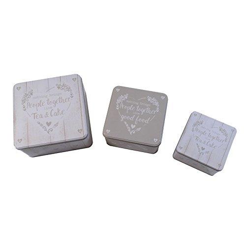 Set de 3 Té y pastel beige y crema diseño de corazón Metal cajas ...