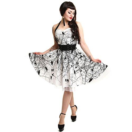 Vixxsin Gothic Damen Neckholder Kleid - Dark Crow Weiß