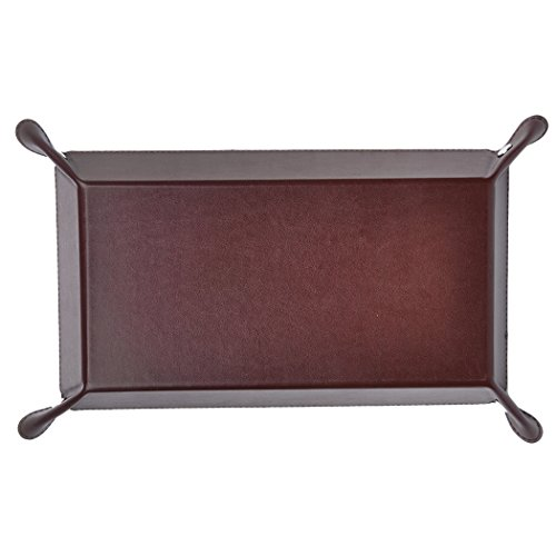 Valet Tray for Men, PU Leather Catchall, 365Park Jewelry Key Wallet Phone Tray (Z001-Brown)