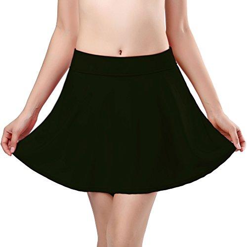 SHEKINI Women's Skirted Bikini Built-in Bottom High Waist Swim Skirt Swimdress Swimsuit (Large/(US 12-14), Black Green)