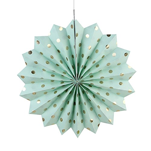 SUNBEAUTY Pack of 3 Tissue Paper Fans Collection Gold Dot Paper Fans Hanging Party Fans Decorations (Mint Green)