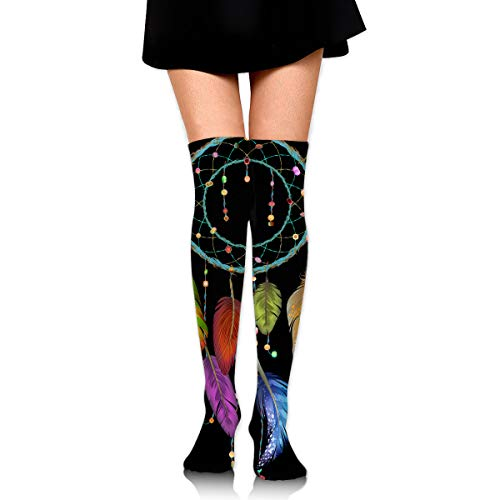 Dreamcatcher PNG Clip Art Image Leisure Crew Top Socks,Tube Over Knee Nursing Compression Long Socks,3D Printed Sports For Girls&Women]()