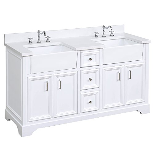 Zelda 60-inch Double Bathroom Vanity (Quartz/White): Includes a Quartz Countertop, White Cabinet with Soft Close Doors & Drawers, and White Ceramic Farmhouse Apron ()