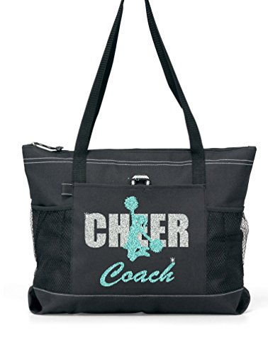 Silver Glitter CHEER COACH with Teal Glitter Cheerleader on a Black Sports Tote by Totesntogs